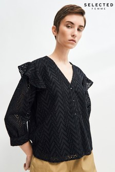 Selected Femme Sustainable Broderie Anglaise Josa Blouse