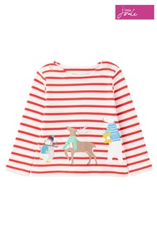 Joules Red Blitzen Organically Grown Cotton Screenprint Top
