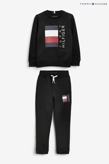 Tommy Hilfiger Black Global Stripe Tracksuit Set