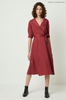 French Connection Red Clarita Drape Shirt Dress