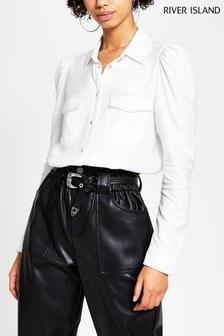 River Island White Lurex Shirt