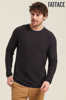 FatFace Navy Cotton Cashmere Two Colour Crew Sweater