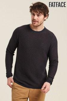 FatFace Navy Cotton Cashmere Two Colour Crew Sweater