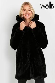 Wallis Plush Faux Fur Midi Coat