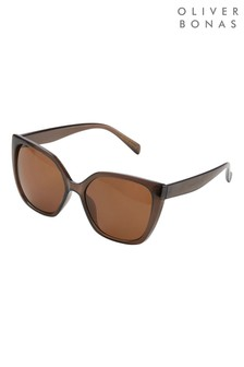 Oliver Bonas Brown Angled Sunglasses
