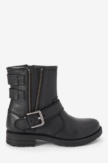 Leather Biker Buckle Boots (Older)
