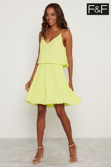 F&F Lime Pleated Swing Dress