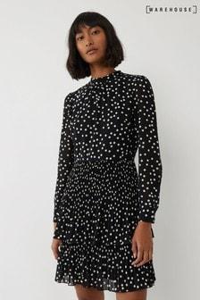 Warehouse Black Spot Micropleat Mini Dress