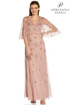 Adrianna Papell Pink Beaded Gown With Mermaid Skirt