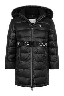 Calvin Klein Jeans Girls Black Down Padded Long Coat