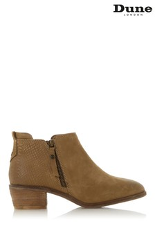 Dune London Taupe Nubuck Putnam Side Zip Cropped Ankle Boots