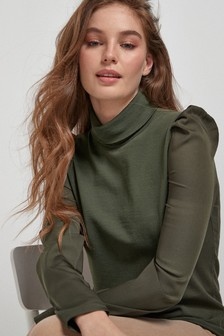 Satin Sleeve Roll Neck Top