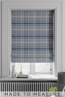 Made To Measure Blue Ludlow Woven Check Roman Blind