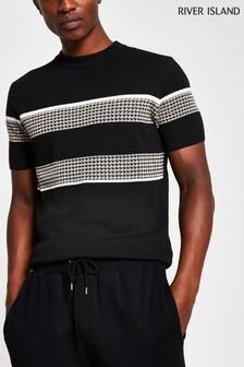 River Island Black Slim Check Block T-Shirt