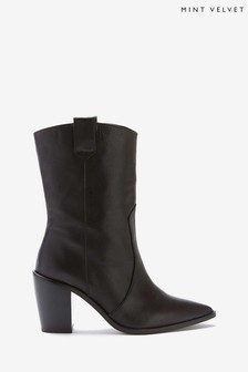 Mint Velvet Daphne Black Cowboy Boots