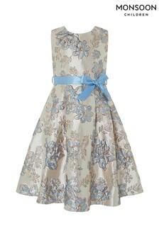 Monsoon Children Blue Donatella Jacquard Dress