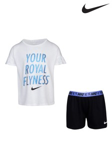 Nike Little Kids White Fly T-Shirt and Shorts Set