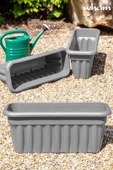 Set of 3 Wham Vista 60cm Black Plastic Troughs