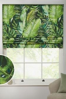 Green Tropical Leaf Print Roman Blind