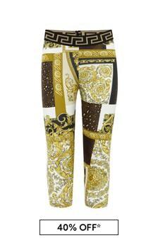 Versace Baby Girls Gold Cotton Leggings