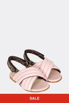 Fendi Kids Girls Pink Leather Sandals
