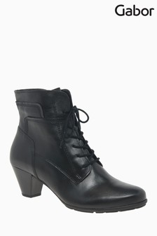 Gabor National Black Leather Fashion Ankle Boots