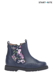 Start-Rite Chelsea Navy Leather Floral Boots