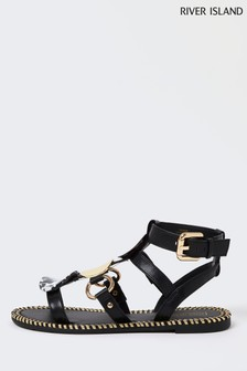 River Island Black Large Disc Gladiator Sandals