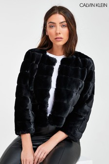 Calvin Klein Faux Fur Shrug