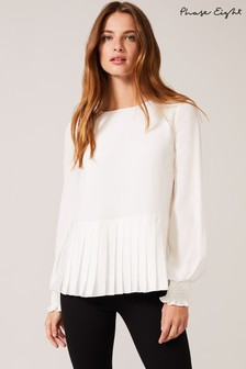 Phase Eight White Thea Pleat Hem Blouse