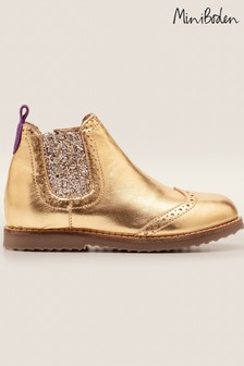 Boden Gold Leather Chelsea Boots