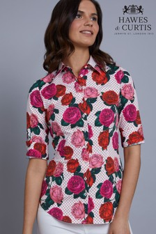 Hawes & Curtis White Floral Spot Fitted Shirt
