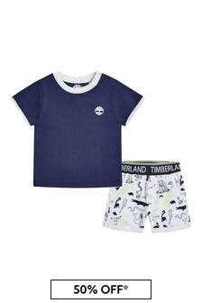 Timberland Baby Grey Cotton T-Shirt And Shorts Set