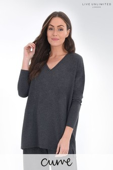 Live Unlimited Curve Grey V-Neck Oversized Top