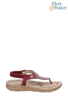 Fleet & Foster Red Mulberry Elastic Toe Post Sandals