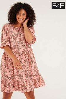 F&F Pink Callie Tiered Dress