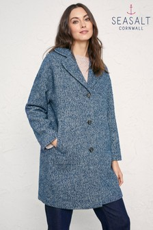 Seasalt Blue Trenwheal Crownan Harbour Coat