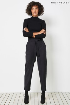 Mint Velvet Black Pinstriped Trousers