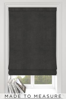 Made To Measure Charcoal Soft Velour Roman Blind