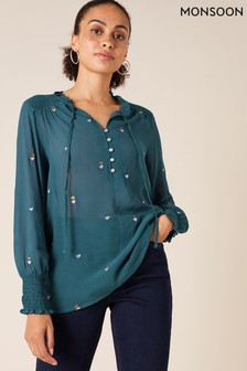 Monsoon Blue Heart Embroidery Sustainable Blouse