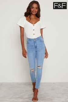 F&F Blue Sunset Ripped Skinny Jeans
