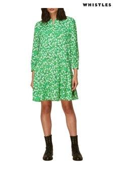 Whistles Green Blossom Print Mini Dress