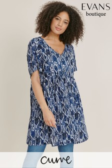 Evans Curve Blue Snake Print Tunic