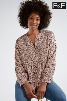 F&F Pink Louisa Pintuck Popover Shirt