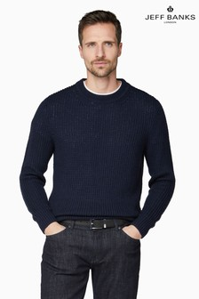 Jeff Banks Blue Chunky Crew Neck Jumper