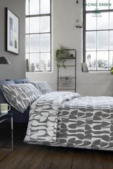 Racing Green Jenson Wendbares Set mit Bett- und Kissenbezügen aus Baumwolle mit geometrischem Muster