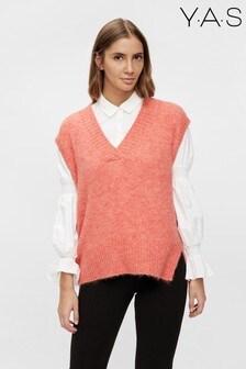 Y.A.S Blush Pink Knitted V-Neck Vest