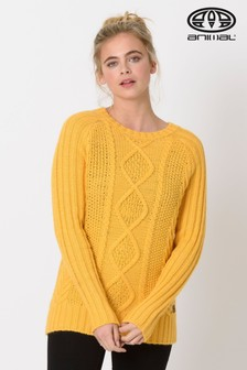 Animal Custard Yellow Errie Cable Knit Jumper