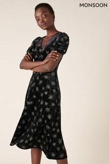 Monsoon Black Ebony Glitter Print Stretch Velvet Dress