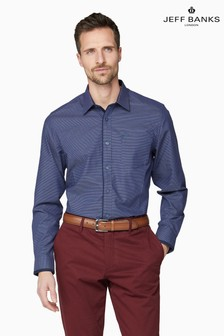 Jeff Banks Blue Micro Design Dobby Tailored Fit Casual Shirt